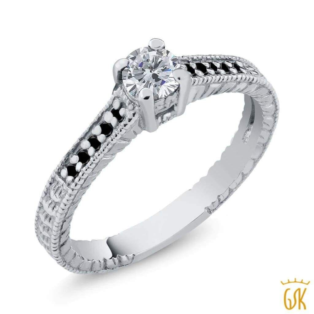 ct round gh and black diamond sterling silver engagement