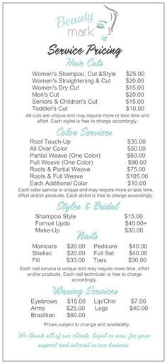 Salon Service Menu W Diff Haircut Options  Marketing