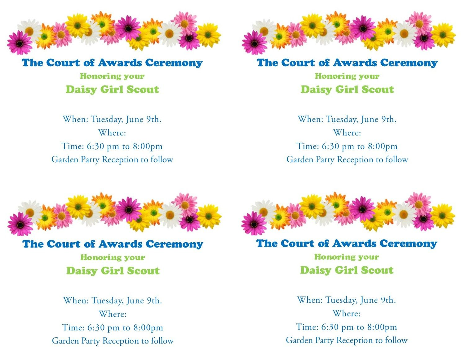 Free girl scout invitations court of awards garden party free explore daisy flowers flowers garden and more dhlflorist Image collections