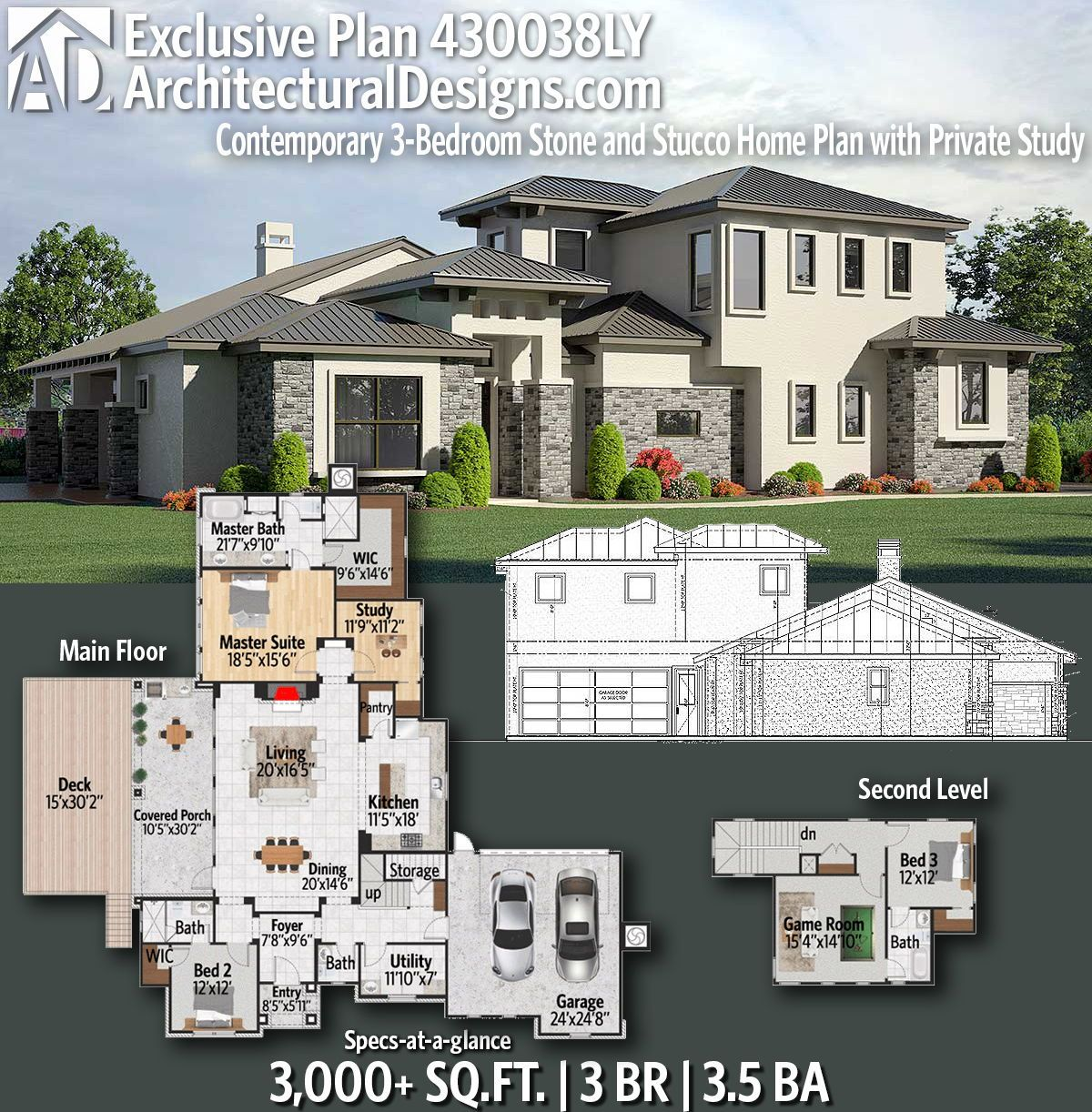 Plan 430038ly Contemporary 3 Bedroom Stone And Stucco Home Plan With Private Study House Plans Two Story House Design Home Design Floor Plans