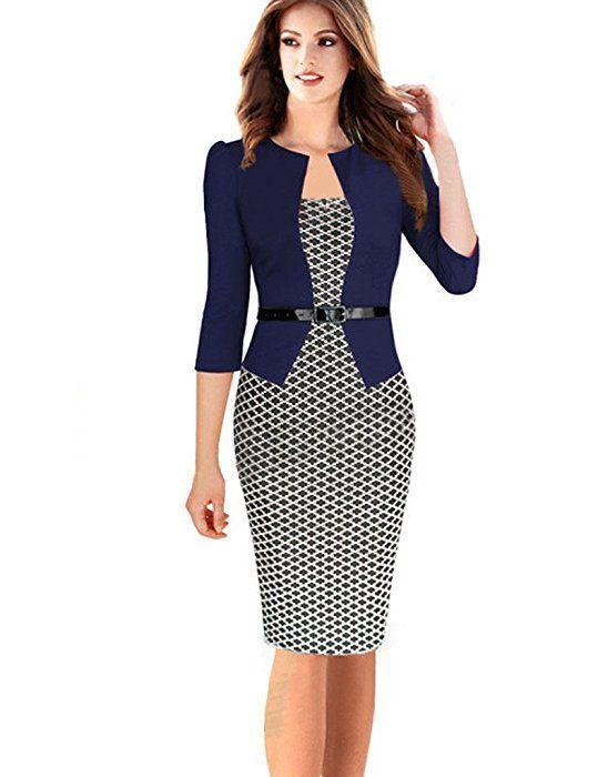 f960011d79c3 Minetom Damen Hahnentritt Elegant Kleider Business Kleider Abendkleid  Etuikleid Casual Knielang Party Dress mit Gürtel Marine 2 DE 42