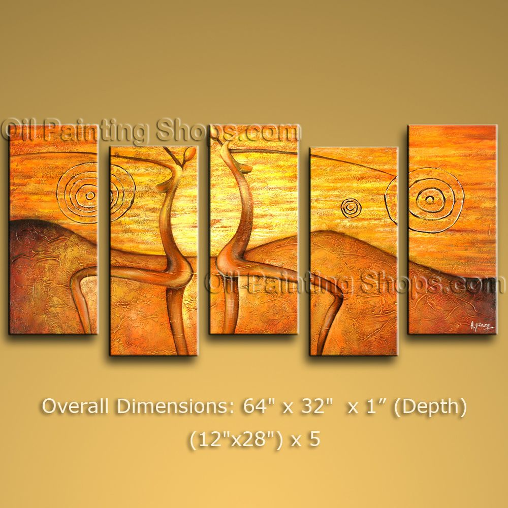 Hand-painted 5 Pieces Modern Abstract Painting Wall Art On Canvas ...