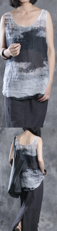 e4966f91d06451 gray prints linen tops trendy linen clothing blouses women o neck  sleeveless linen tops