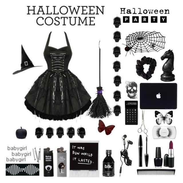 """""""happy halloween"""" by lisadays ❤ liked on Polyvore featuring MAC Cosmetics, OPI, Mary Kay, Sally Hansen, American Apparel, LEXON, D.L. & Co., T3, H&M and BOBBY"""
