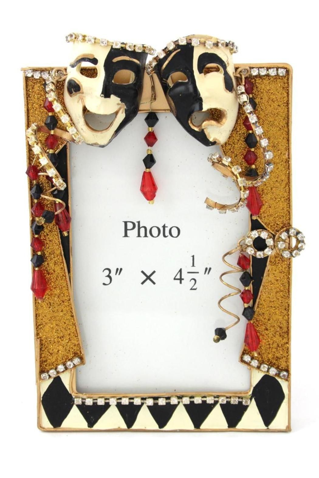 """Mardi Gras Harlequin frame Stage setting. Glitter, beads, & rhinestone accents.Texture differences which may appear on this handcrafted item are inherent to the natural materials and artistic manufacturing process.    Measures: 7"""" x 4.5""""; fits a 3"""" x 4.5"""" photo   Comedy & Tragedy Frame by Katherine's Collection. Home & Gifts - Home Decor - Frames Alabama"""