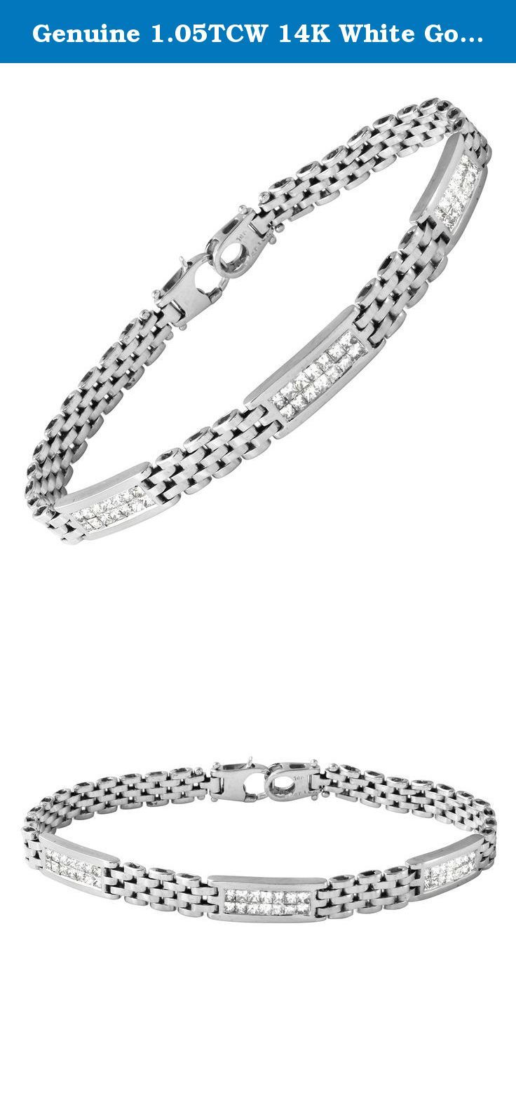 Genuine tcw k white gold ladies bracelet featuring