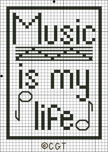 Free Music Is My Life Tote Bag Motif Cross Stitch Pattern
