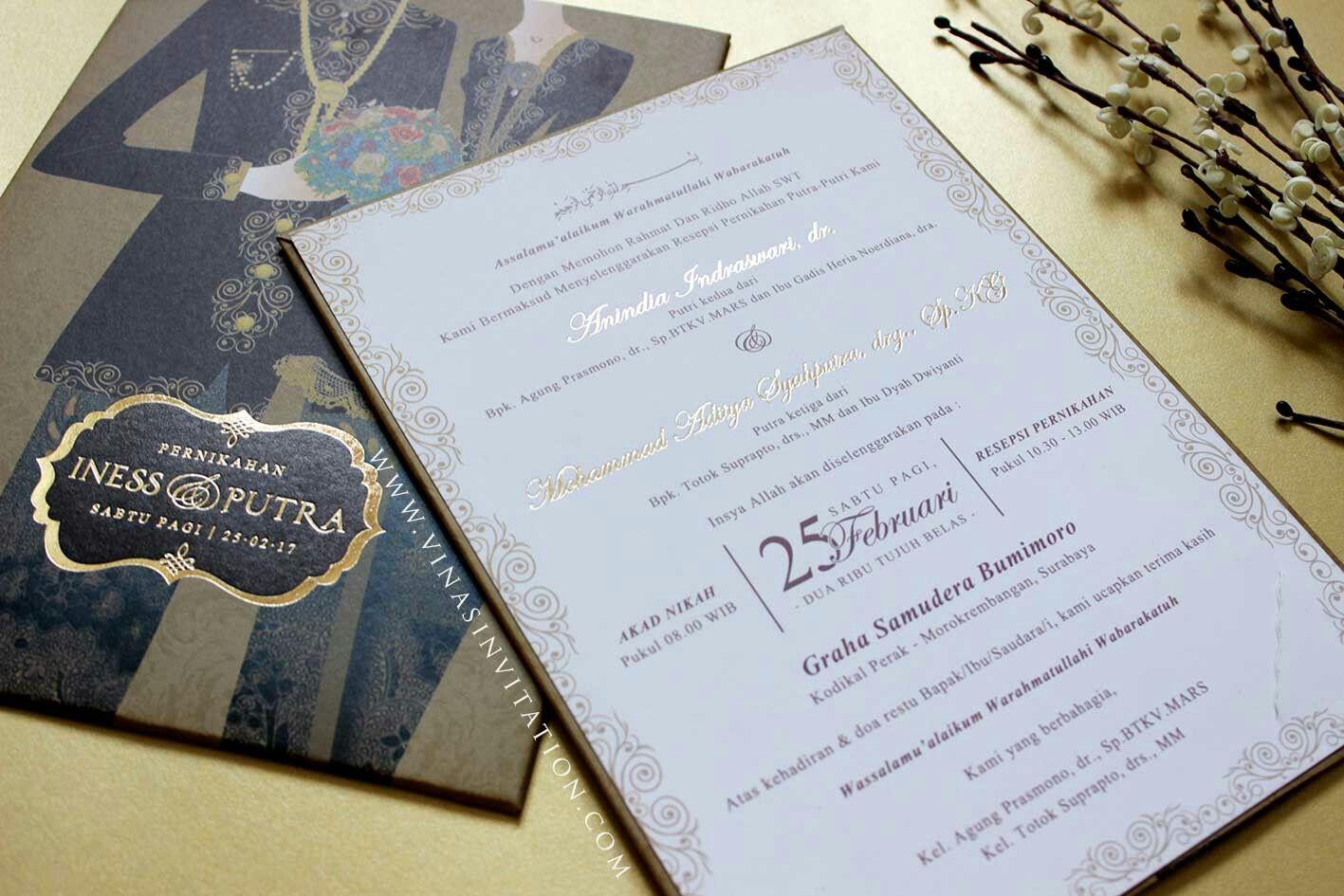 Vinas Invitation Emboss Gold Custom Invitation Wedding Invitation Indonesia Wedding Invitation Simple Elega Undangan Pernikahan Hari Perkawinan Perkawinan
