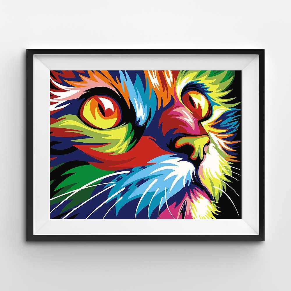 wdsdtt Pittura Dipingere Kit Colorful Cat Abstract Animals Fai da Te Pittura Digitale by Numbers Modern Drawing Art Wall Pictures for Living Home Decor