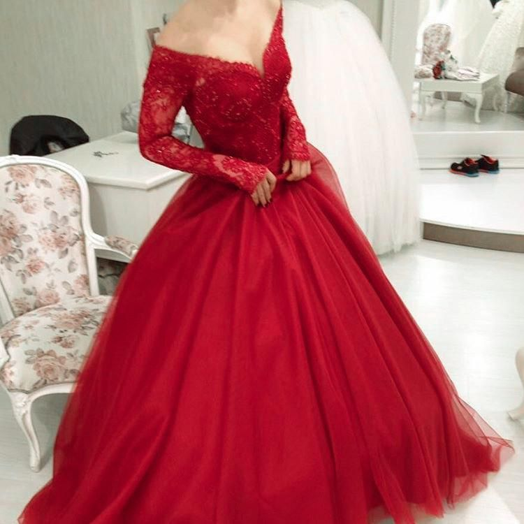 V Neck Off Shoulder Tulle Prom Dresses Ball Gowns Lace Long Sleeves ...