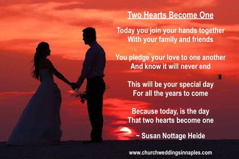 Two Hearts Become One Today You Join Your Hands Together With Your Family And Friends You Pledge Your Love Love Poems Love Messages For Husband Friend Poems