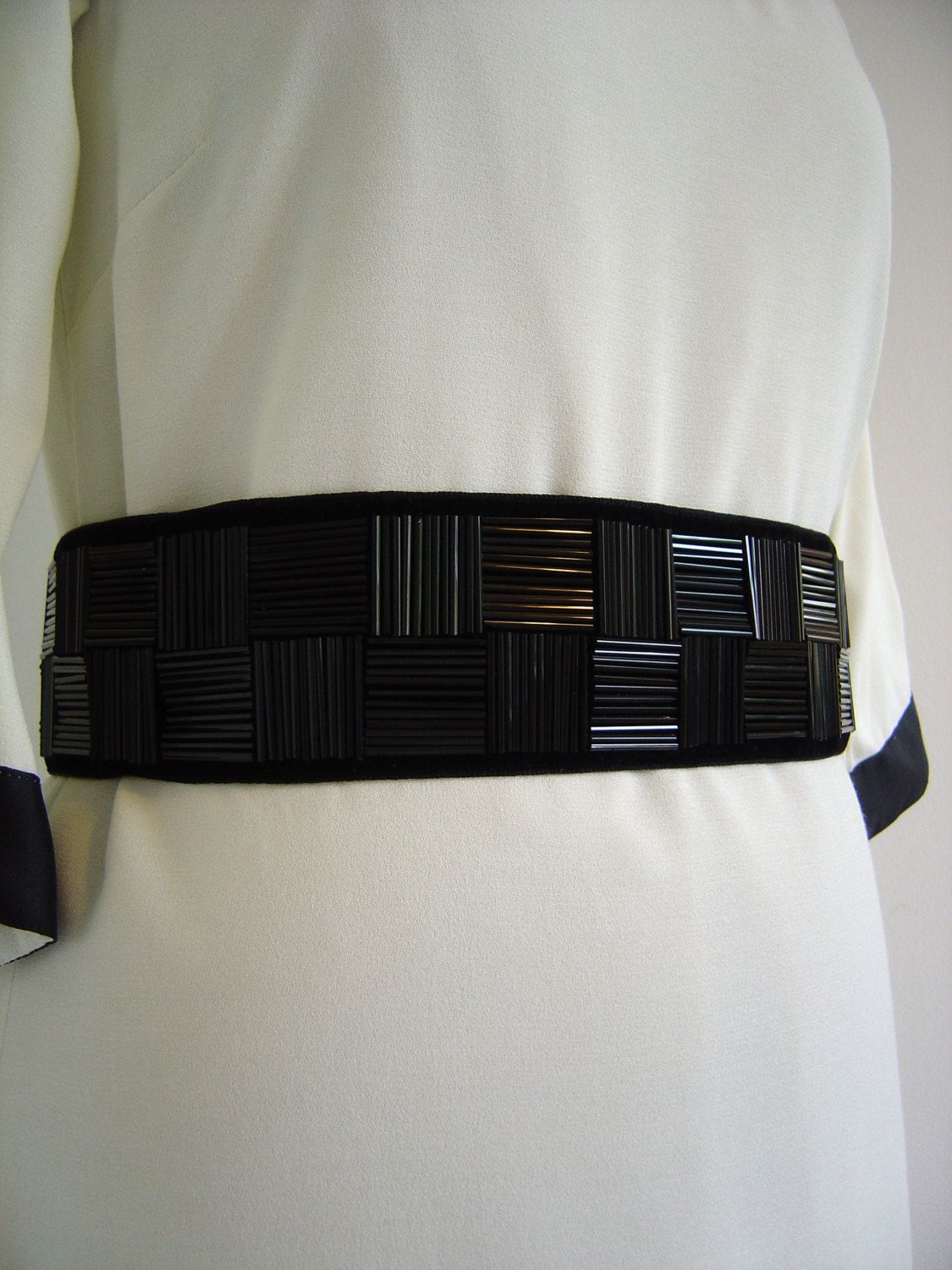 5e05b3ce7410 Black Beaded Sash Belt handbeaded long black bugle by lauratoal, £40.00