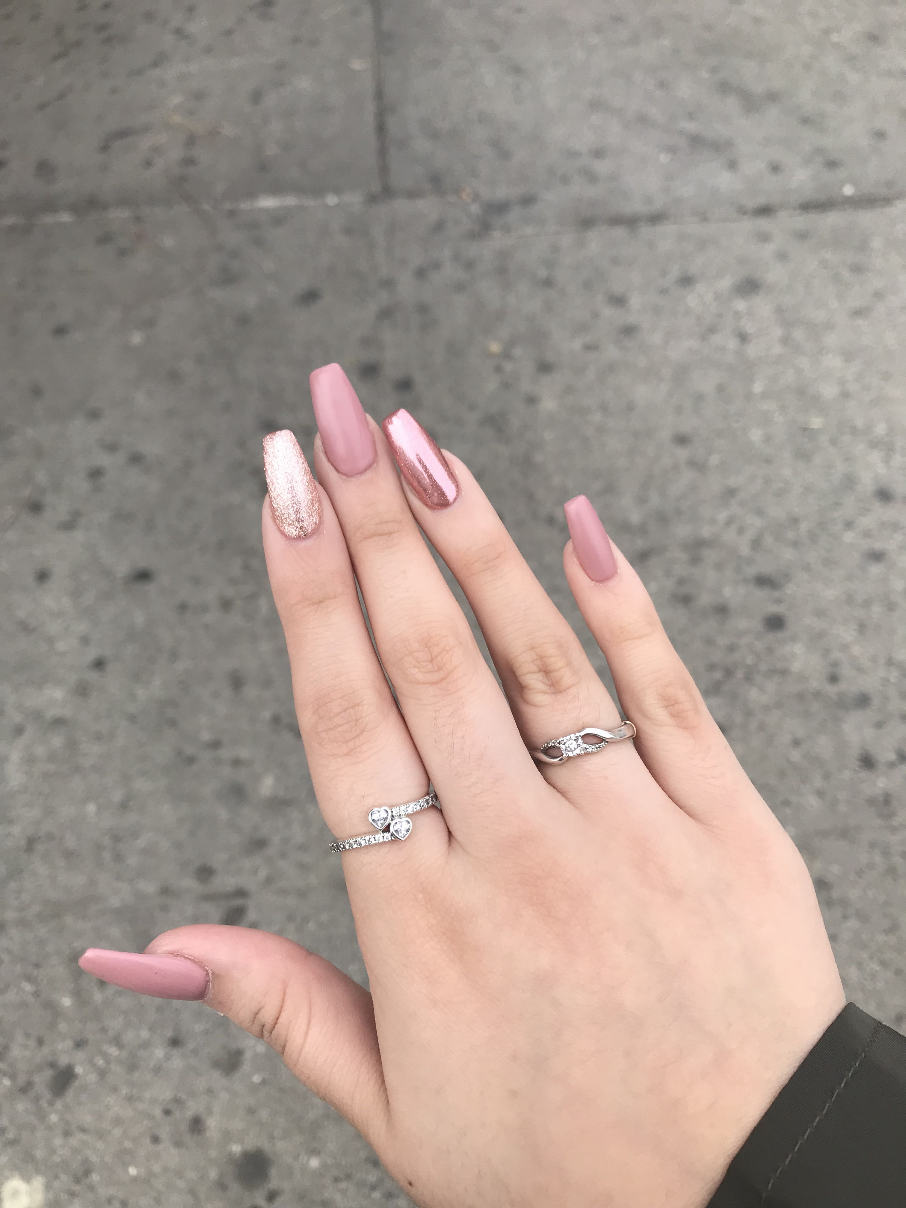Matte . Chrome . Pink glitter . Rose gold . Acrylic ...