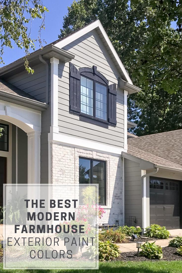 The Best Modern Farmhouse Exterior Paint Colors Repurpose Life In 2020 Modern Farmhouse Exterior Painted Brick House Painted Brick Exteriors