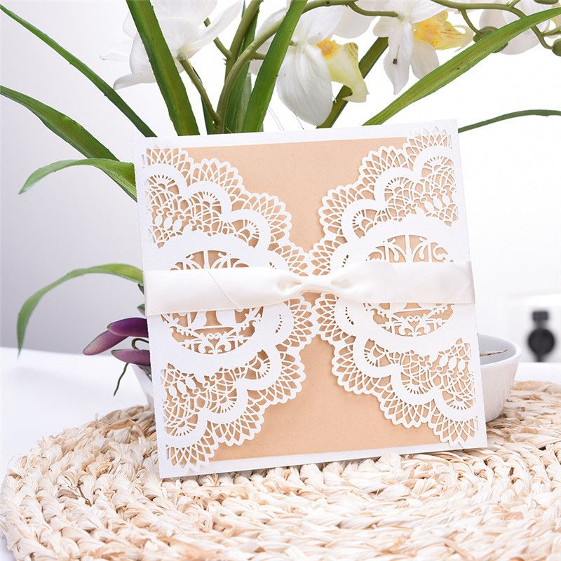 20pcs Lace Cut 4 in 1 White Wedding Party Invitation Card Fancy - invitation letter for wedding ceremony