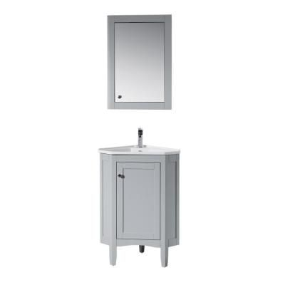 Stufurhome Monte 25 In W X 18 In D Corner Vanity In Grey With Porcelain Vanity Top With White Basin And Mirror Cabinet Ty 650gy The Home Depot Corner Bathroom Vanity Single
