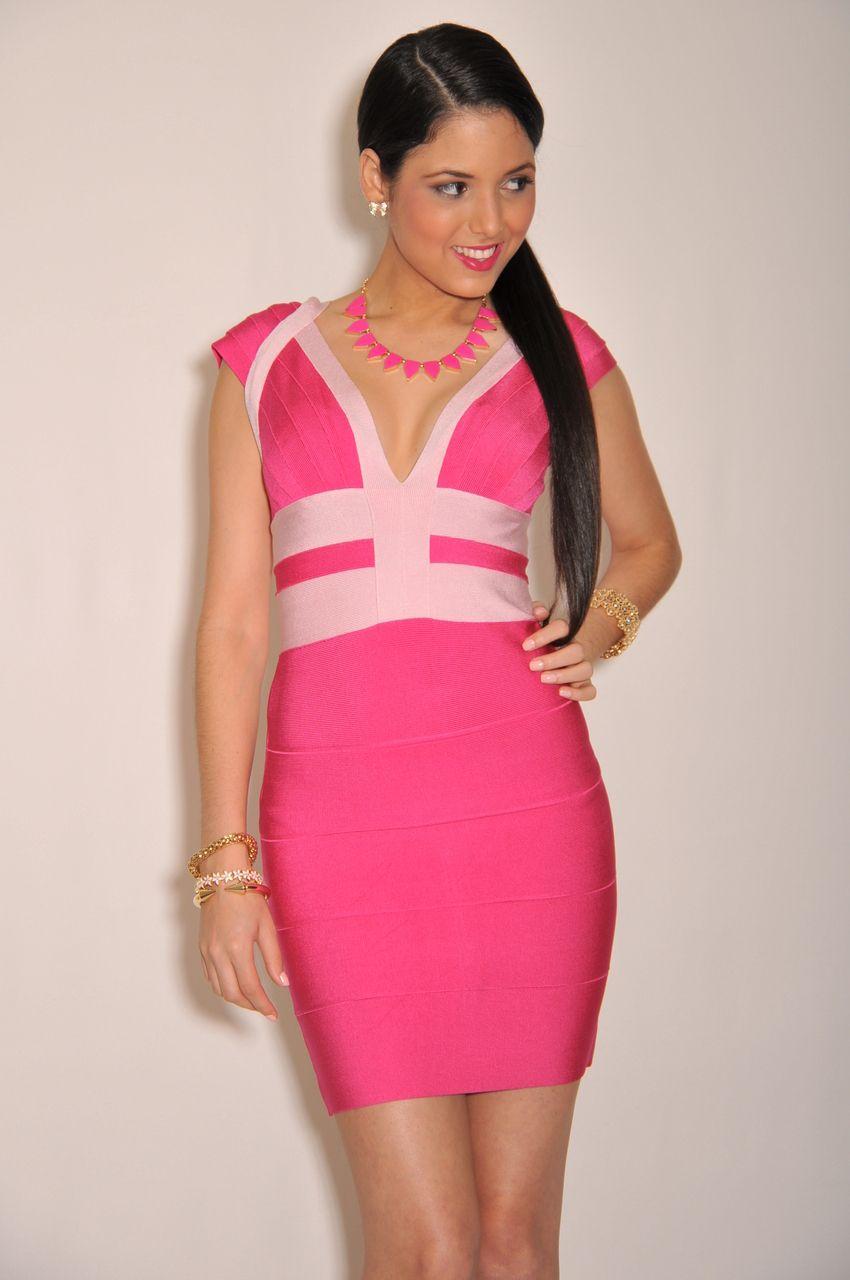 Fuchsia Pink Cap Sleeves LUXE Bandage Dress