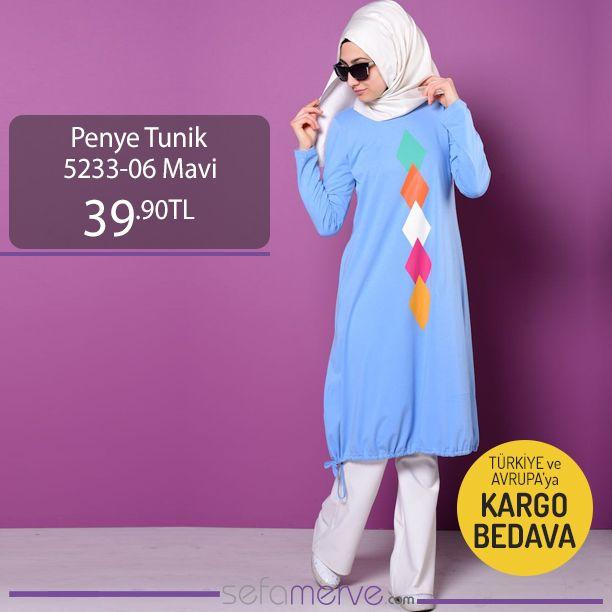 Penye Tunik 5233 06 Mavi Sefamerve Tesetturgiyim Tesettur Hijab Tesettur Urunler Tunik Renkler