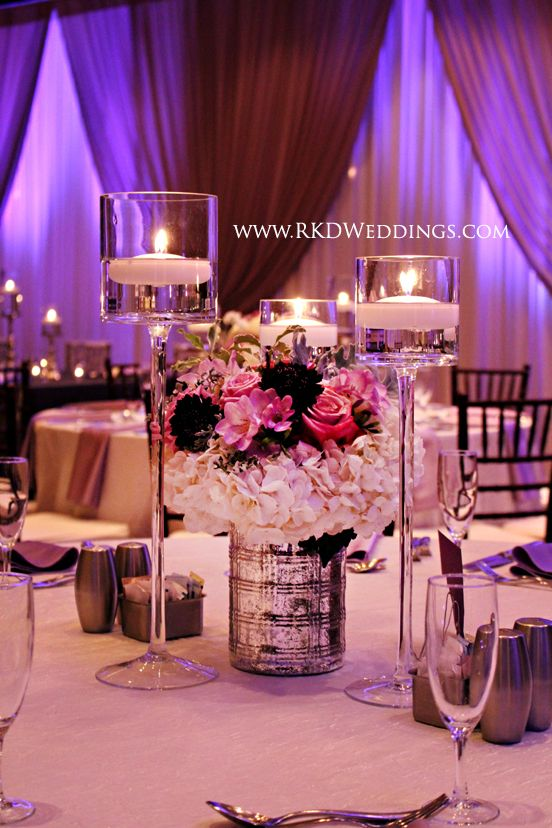 Lavender Purple White And Silver Wedding Flower Centerpieces