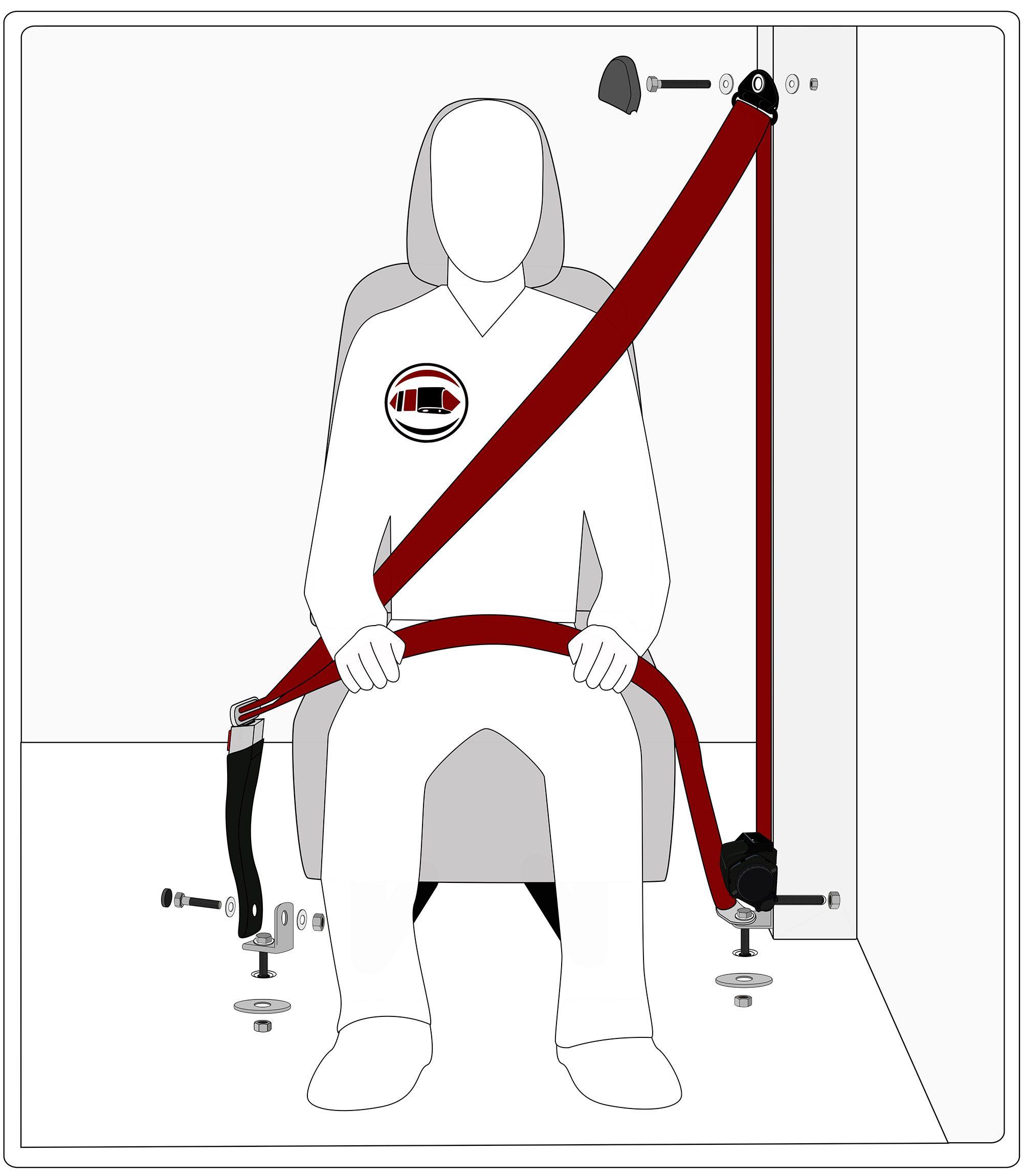3 Point Retractable Seat Belt With Plastic Push Button Buckle Volkswagen Type 3 Seat Belt Volkswagen Karmann Ghia