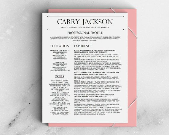 Carry Jackson Modern 2-Page FANCY Resume + Cover Letter Template for