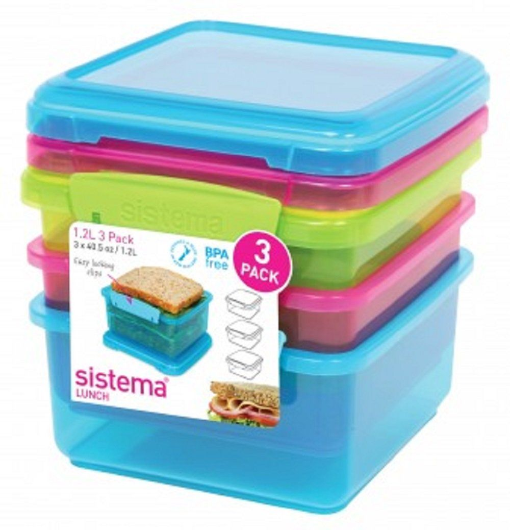 SISTEMA 1634 LUNCH PLUS 1.2L CONTAINERS COLORED 3PK   Products ...