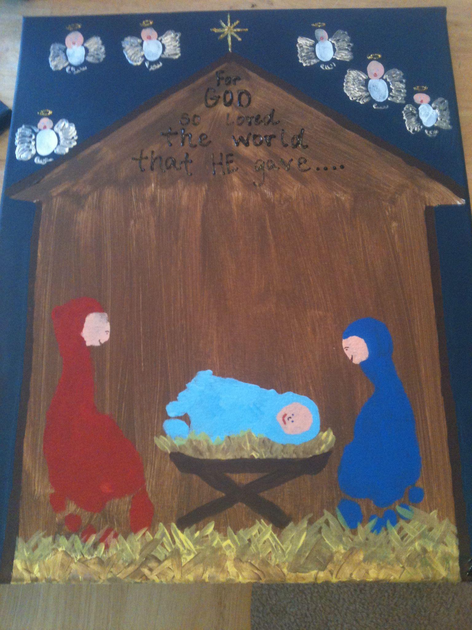 Footprint Nativity Scene With Fingerprint Angels