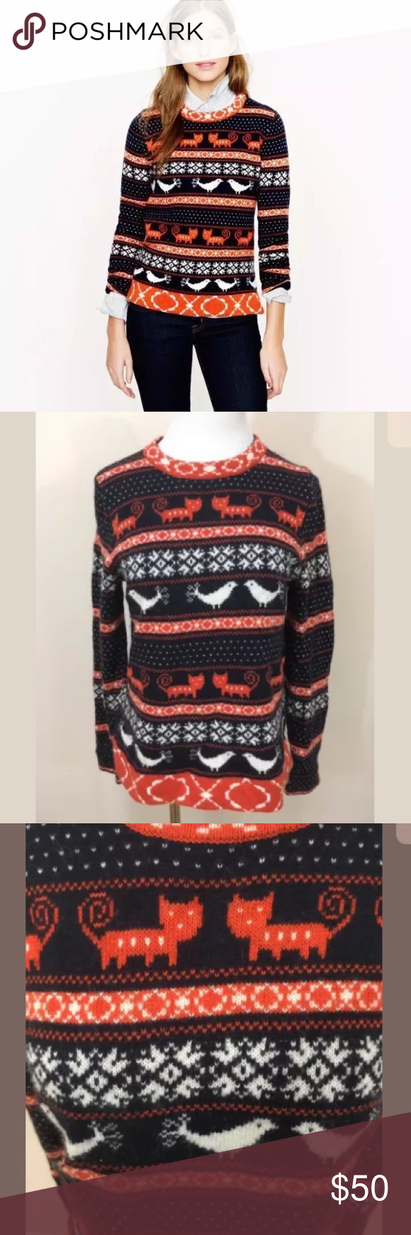 J.Crew Farmyard Fair Isle Cat Bird Sweater Medium | Orange ...