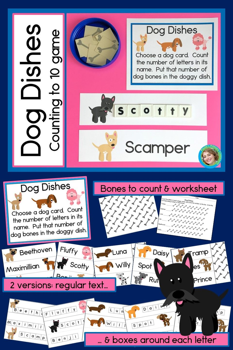 Preschool and kindergarten students love counting to 10 with this super adorable dog themed game!