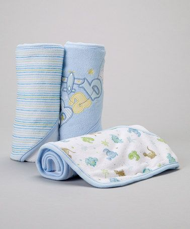 Look what I found on #zulily! Blue 'Baby' Airplane Hooded Towel Set #zulilyfinds