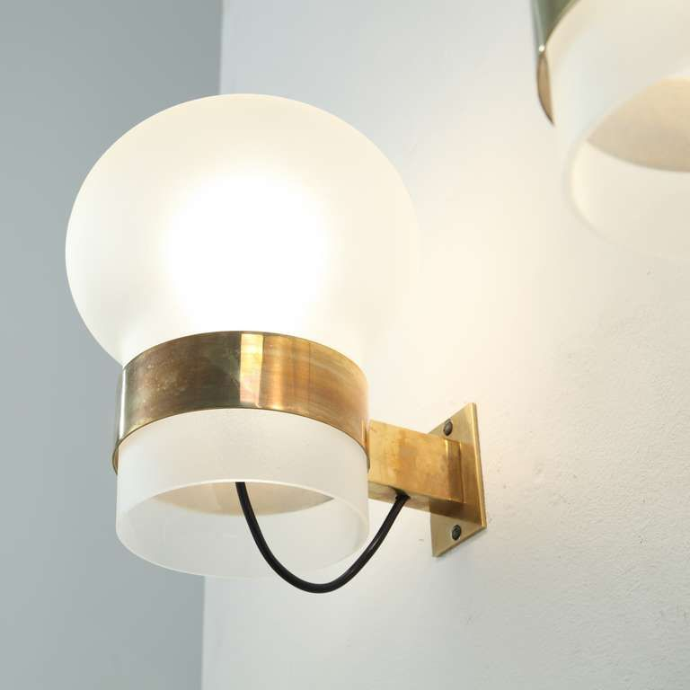 2 Pair Fontana Arte Wall Sconces Frosted Glass Shades On Brass