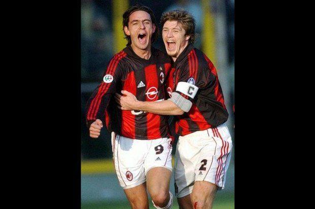 Pippo Inzaghi & Thomas Helveg (Milan AC)
