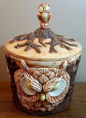 Vintage Hand Painted Ceramic Owl Cookie Jar Kitchen Canister With Lid