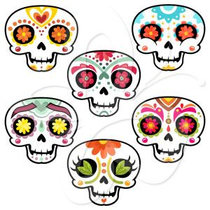 sugar skulls clip art set crafty stuffs pinterest halloween rh pinterest com skull clip art images skull clipart free