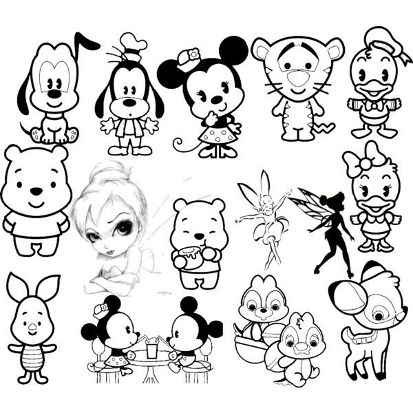 Cute Disney Character Coloring Pages Cute Disney Characters Disney Drawings Cute Disney