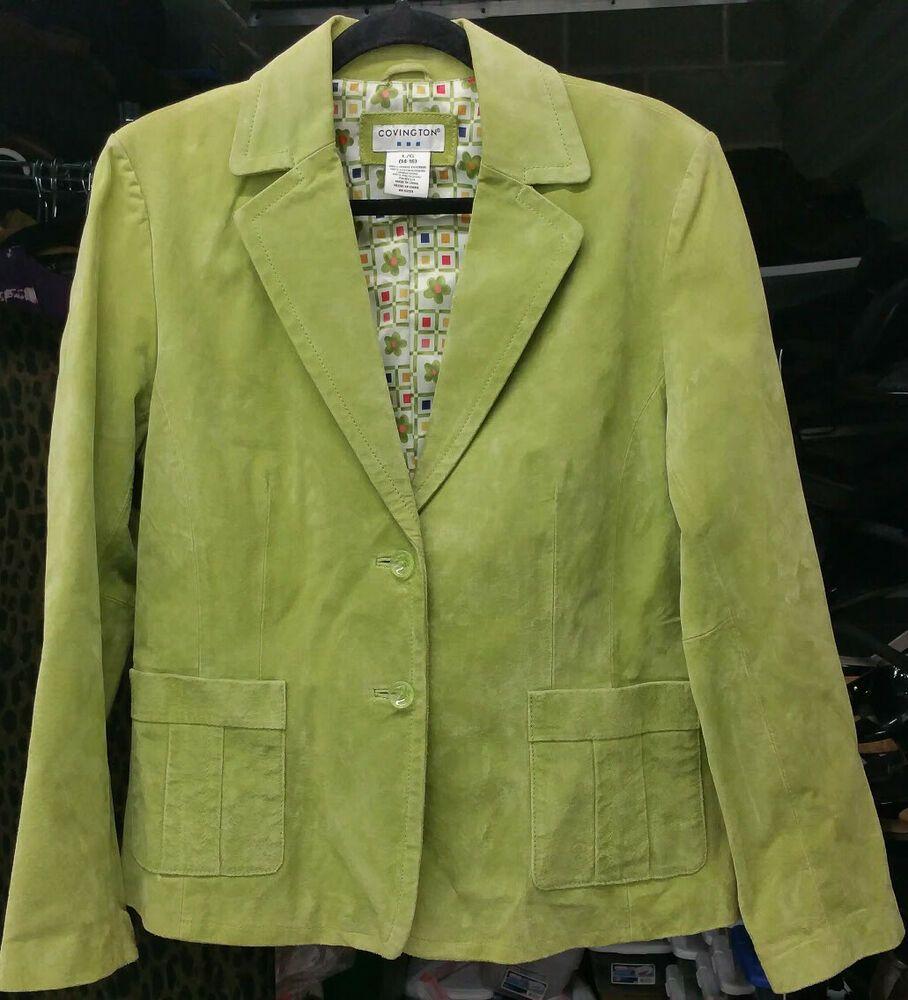 Covington Sz Lg 14 16 Lime Green Suede Jacket Blazer Button Up Retro 70s Coat Covington Blazer Outerwear Ret Green Suede Jacket Blazer Buttons Green Suede [ 1000 x 908 Pixel ]
