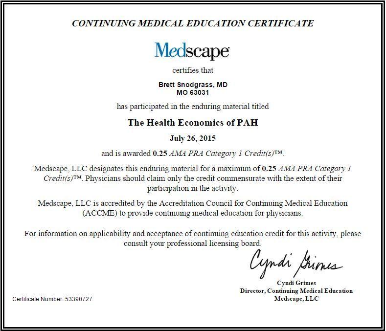 The Health Economics of PAH CME Brett_Snodgrass_MD