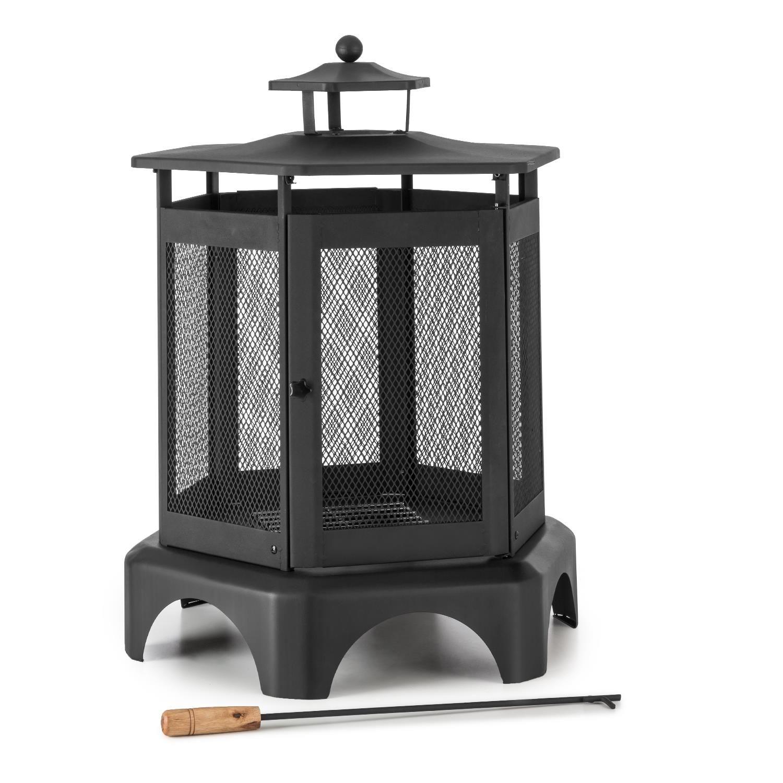blumfeldt outdoor garden fire pit bowl fireplace steel cage poker