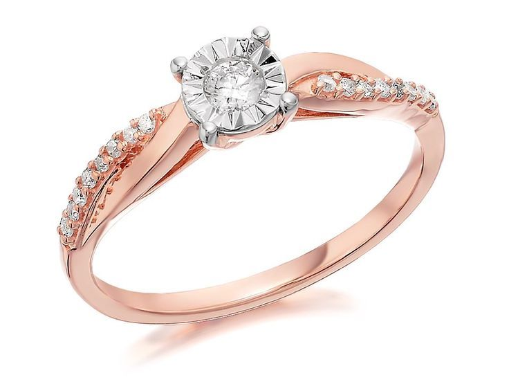 F.Hinds Womens Jewellery 9ct Rose Gold Diamond Crossover Ring