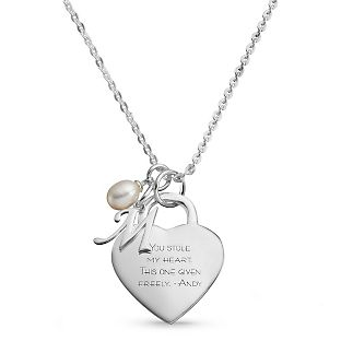 personalized sterling silver custom heart initial necklace with