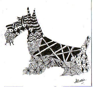 Tangles within a scottie silhouettes; Zentangles within a shape
