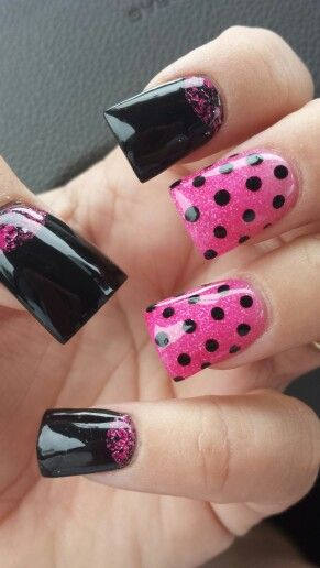 Pink and black nails #labellenailskelly