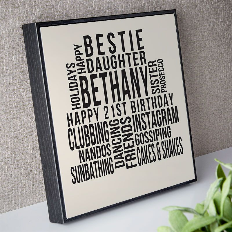 Personalised 21st Birthday Gift For Her Of Text Art