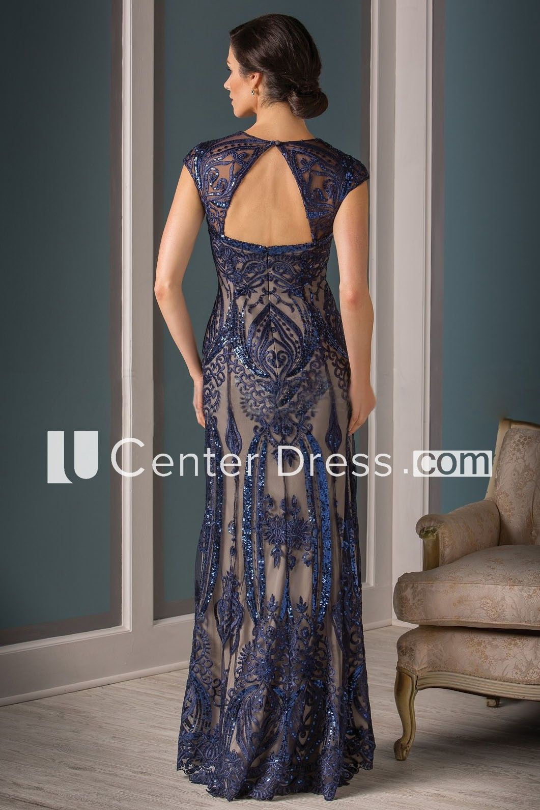 8ae2d571aa1 Cap-Sleeved V-Neck Long Mother Of The Bride Dress With Sequins And Keyhole