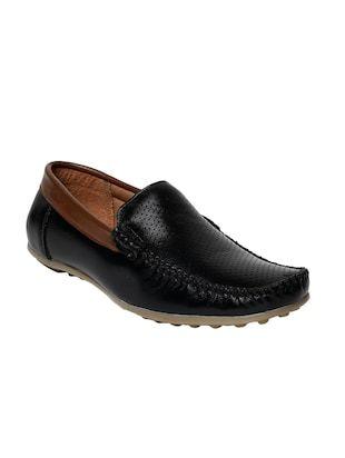 black leatherette slip on loafer