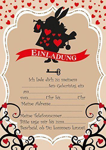 10 Einladungen Zum Kindergeburtstag Aliceu0027s Abenteuer Im Wunderland Alice  In Wonderland, Http://