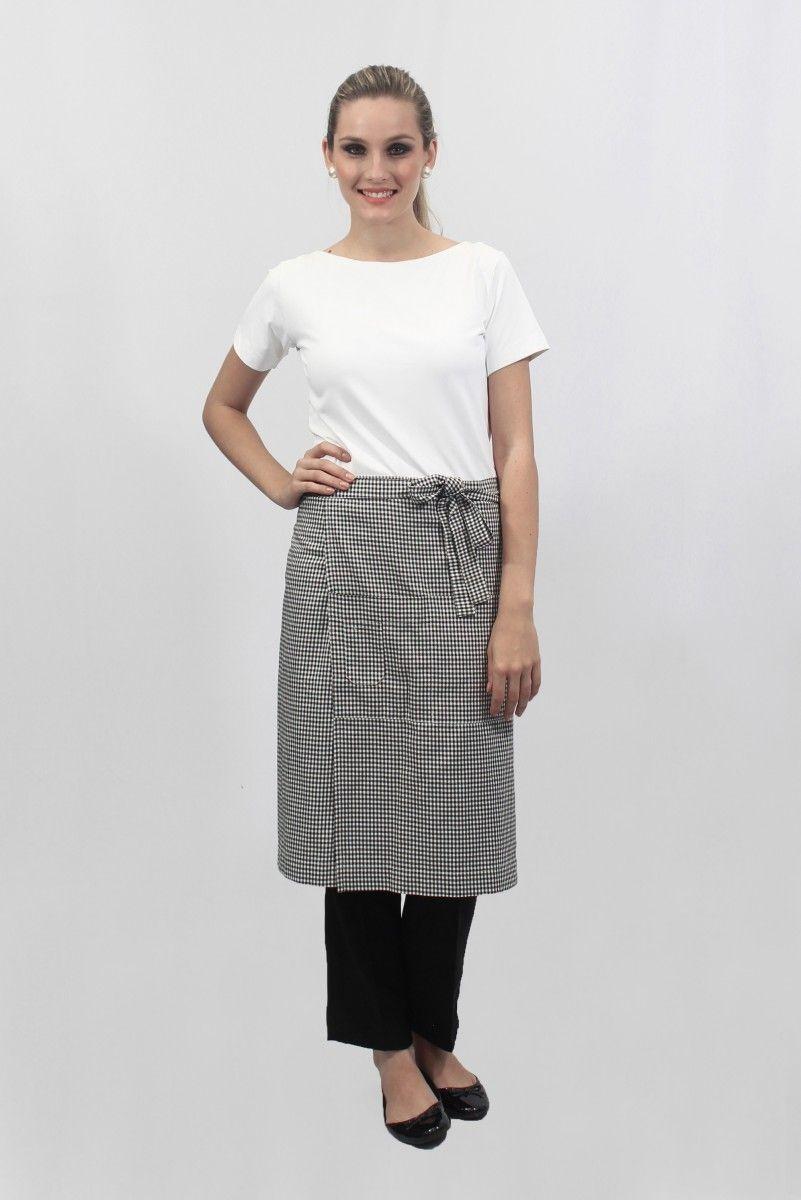 Avental Sem Peito Curto Com Trespasse E Bolsos Uniforme Tas Nurse Kit Profissional Paella Sushi