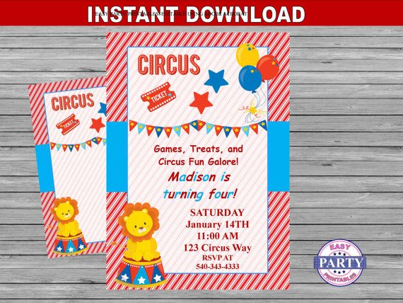 Circus Party Invitation Instant download by EasyPartyPrintables