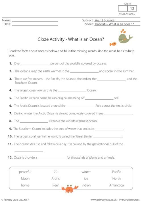 Primaryleap Cloze Activity What Is An Ocean Worksheet 6
