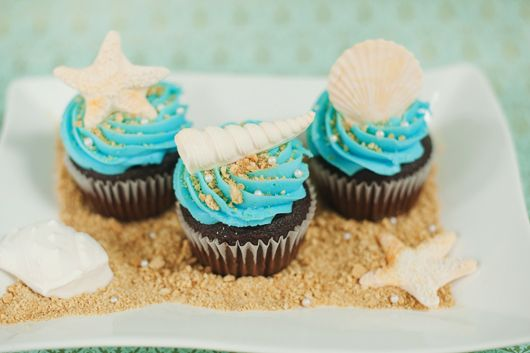 """Daughter's 3rd b-day... ocean/blue theme! These cupcakes, with white cake. Add some pearl sprinkles to the """"sand"""""""